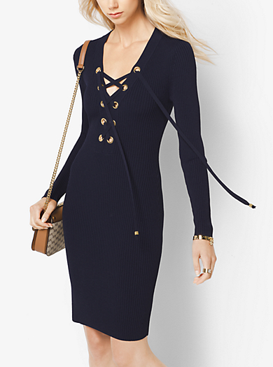 Lace-Up Ribbed Dress by Michael Kors
