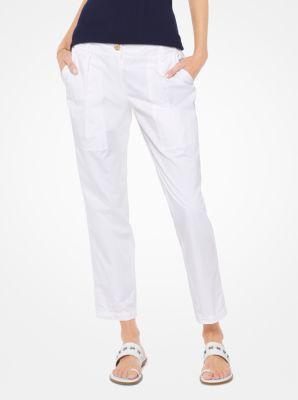 마이클 마이클 코어스 카고 팬츠 화이트 Michael Michael Kors Cotton-Twill Cargo Pants,WHITE