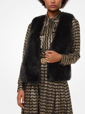 마이클 마이클 코어스 퍼 베스트 블랙 Michael Michael Kors Faux Fur Vest,BLACK