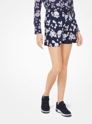마이클 마이클 코어스 반바지 Michael Michael Kors Floral Georgette Pleated Shorts,TRUE NAVY