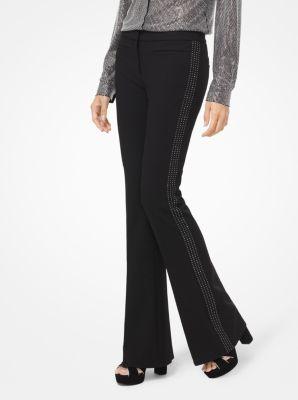마이클 마이클 코어스 바지 블랙 Michael Michael Kors Embellished Stretch-Twill Flared Trousers,BLACK
