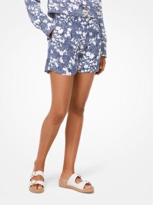 마이클 마이클 코어스 Michael Michael Kors Mixed Floral Cady Pleated Shorts,TRUE NAVY