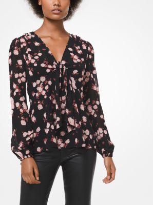 마이클 마이클 코어스 Michael Michael Kors Rose Georgette Knotted V-Neck Top,BLACK/DUSTY ROSE