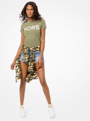 마이클 마이클 코어스 반팔티 Michael Michael Kors Studded Logo Cotton-Jersey T-Shirt,SMOKEY OLIVE