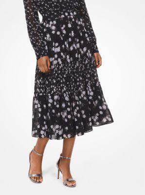 마이클 마이클 코어스 Michael Michael Kors Mixed Rose Georgette Skirt,BLACK/WHITE
