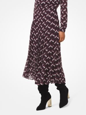 마이클 마이클 코어스 Michael Michael Kors Chevron Georgette Pleated Skirt,CORDOVAN