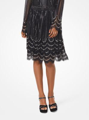 마이클 마이클 코어스 Michael Michael Kors Embellished Tiered Lace Skirt,BLACK/SILVER