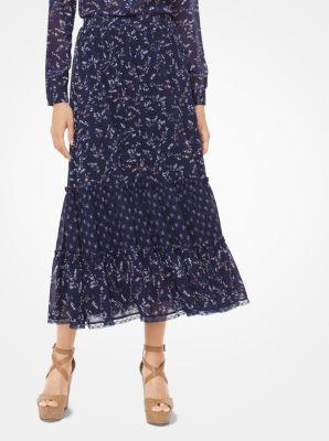 마이클 마이클 코어스 조젯 티어드 스커트 Michael Michael Kors Meadow-Print Georgette Tiered Skirt,TRUE NAVY/ACORN