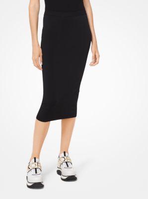 마이클 마이클 코어스 Michael Michael Kors Stretch-Viscose Pencil Skirt,BLACK