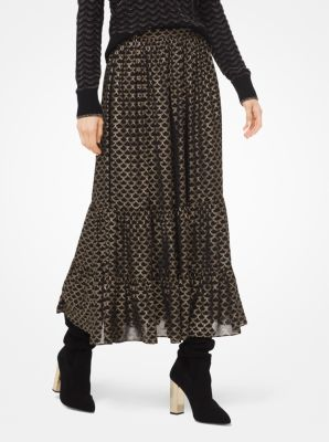 마이클 마이클 코어스 Michael Michael Kors Metallic Deco Print Georgette Tiered Skirt,BLACK/GOLD