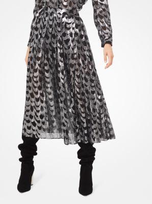마이클 마이클 코어스 Michael Michael Kors Scalloped Silk Jacquard Skirt,BLACK/SILVER