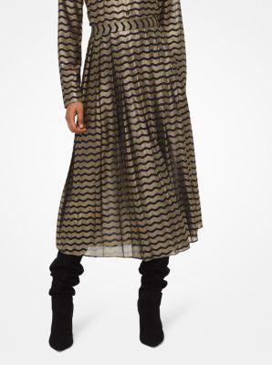마이클 마이클 코어스 Michael Michael Kors Metallic Striped Georgette Skirt,BLACK/GOLD