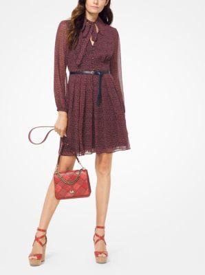 마이클 마이클 코어스 시폰 타이넥 원피스 - 네이비/테라코타 Michael Michael Kors Vine-Print Chiffon Tie-Neck Dress,TRUE NAVY/BR TERRA COTTA