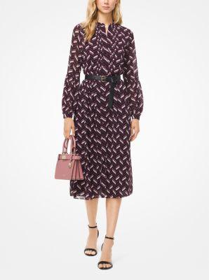 마이클 마이클 코어스 Michael Michael Kors Chevron Georgette Belted Shirtdress,CORDOVAN
