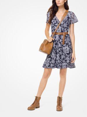 마이클 마이클 코어스 꽃무늬 매쉬 원피스 - 네이비 Michael Michael Kors Floral Embroidered Mesh Dress,TRUE NAVY