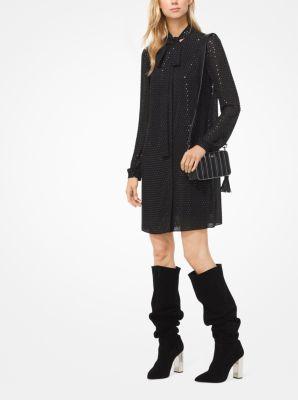 마이클 마이클 코어스 Michael Michael Kors Embellished Georgette Tie-Neck Shirtdress,BLACK