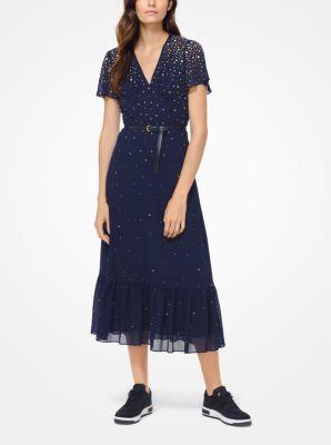 마이클 마이클 코어스 스터드 조젯 원피스 - 네이비 Michael Michael Kors Studded Georgette Dress,TRUE NAVY