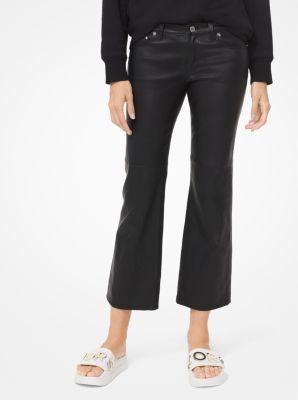 마이클 마이클 코어스 이지 크롭 팬츠 Michael Michael Kors Izzy Leather Cropped Flared Pants,BLACK