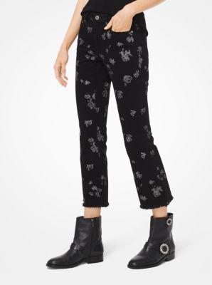 마이클 마이클 코어스 크롭 청바지 블랙/실버 Michael Michael Kors Metallic Rose Print Cropped Jeans,BLACK/SILVER