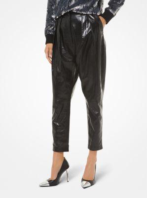 마이클 마이클 코어스 Michael Michael Kors Pleated Leather Pants,BLACK