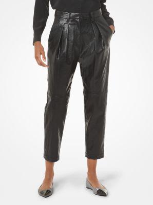마이클 마이클 코어스 Michael Michael Kors Faux Leather Pleated Pants,BLACK