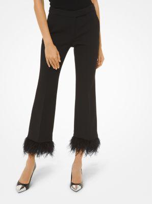 마이클 마이클 코어스 Michael Michael Kors Stretch-Crepe Feather-Trim Cropped Pants,BLACK
