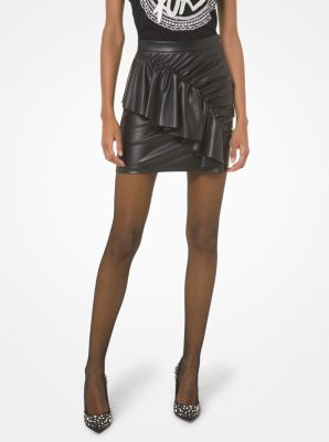 마이클 마이클 코어스 Michael Michael Kors Faux Leather Ruched Skirt,BLACK