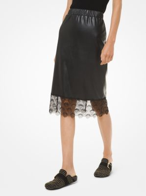 마이클 마이클 코어스 Michael Michael Kors Lace-Trim Faux Leather Slip Skirt,BLACK