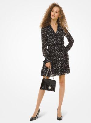마이클 마이클 코어스 펄 프린트 조젯 러플 랩 원피스 Michael Michael Kors Pearl-Print Georgette Ruffled Wrap Dress,BLACK/BONE