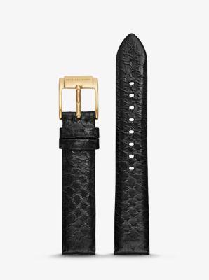 Michael Kors Runway Snake-Embossed Leather Watch Strap,BLACK