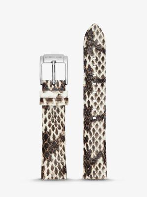 Michael Kors Runway Snake-Embossed Leather Watch Strap,NATURAL