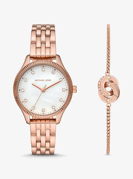MK Coffret montre Lexington ton or rose et bracelet cercle entrelacé - OR ROSE(OR ROSE) - Michael Kors