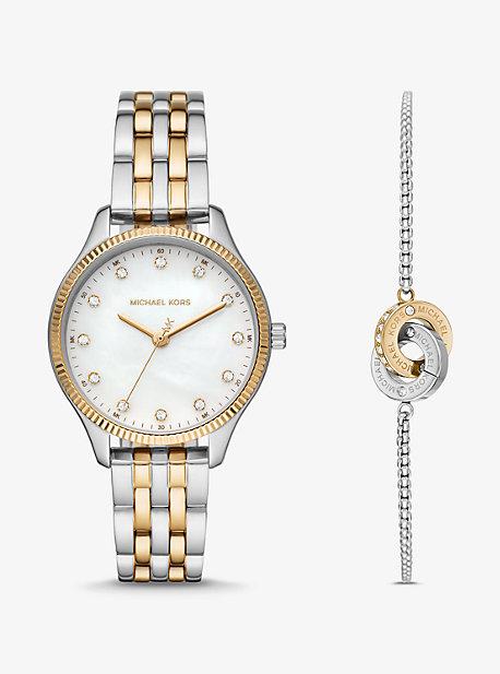 MK Coffret montre bicolore Lexington ton or rose et bracelet cercle entrelacé - DEUX TONS(ARGENT) - Michael Kors