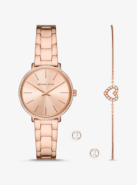 MK Mini montre Pyper ton or rose sertie pavé avec bracelet et clous doreilles - OR ROSE(OR ROSE) - Michael Kors