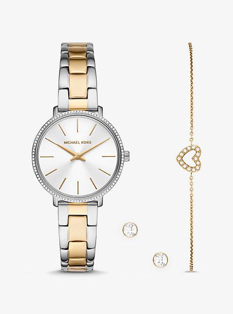MK Mini montre Pyper bicolore sertie pavé avec bracelet et clous doreilles - DEUX TONS(ARGENT) - Michael Kors