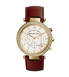 Parker Gold-Tone Stainless Steel and Leather Watch