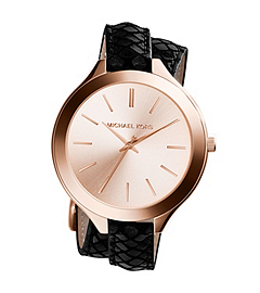Slim Runway Rose Gold-Tone Embossed-Leather Wrap Watch