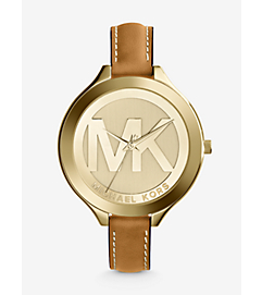 Slim Runway Leather and Gold-Tone Watch by Michael Kors