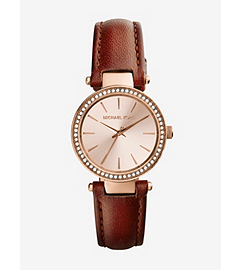 Petite Darci Rose Gold-Tone Stainless Steel and Leather Watch