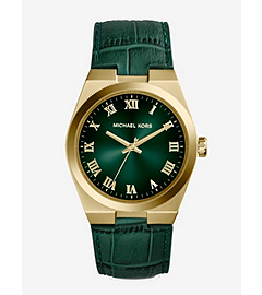 Channing Crocodile-Embossed Leather Gold-Tone Stainless Steel Watch
