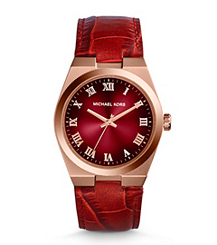 Channing Crocodile-Embossed Leather Rose Gold-Tone Stainless Steel Watch