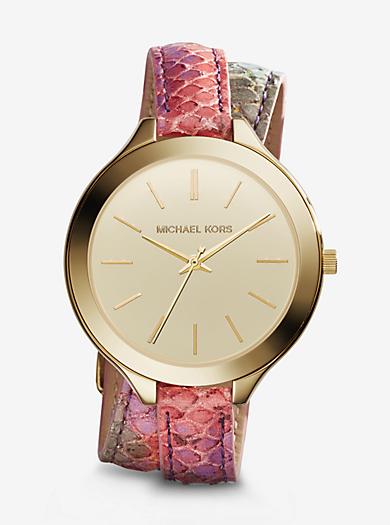 Slim Runway Gold-Tone Embossed-Leather Watch by Michael Kors