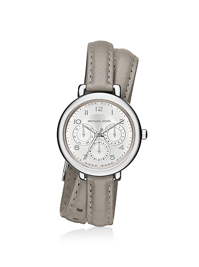 Kohen Silver-Tone and Leather Wrap Watch by Michael Kors