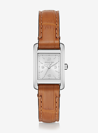 Taylor Silver-Tone and Crocodile Watch by Michael Kors