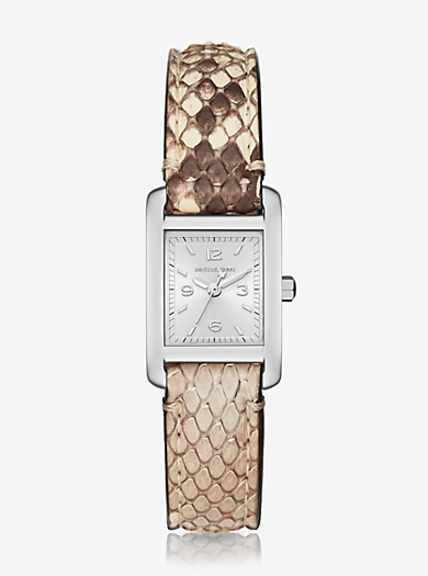 Taylor Silver-Tone and Python Watch by Michael Kors