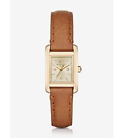 Taylor Gold-Tone and Leather Watch by Michael Kors