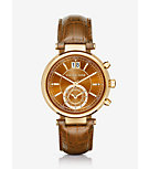 Sawyer Gold-Tone and Embossed-Leather Watch