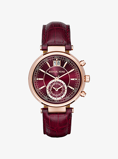 Sawyer Rose Gold-Tone and Embossed-Leather Watch by Michael Kors