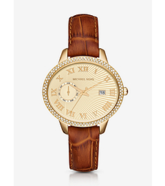 Whitley Pavé Gold-Tone and Leather Watch by Michael Kors