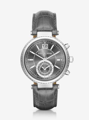 Sawyer Silver-Tone and Embossed-Leather Watch by Michael Kors